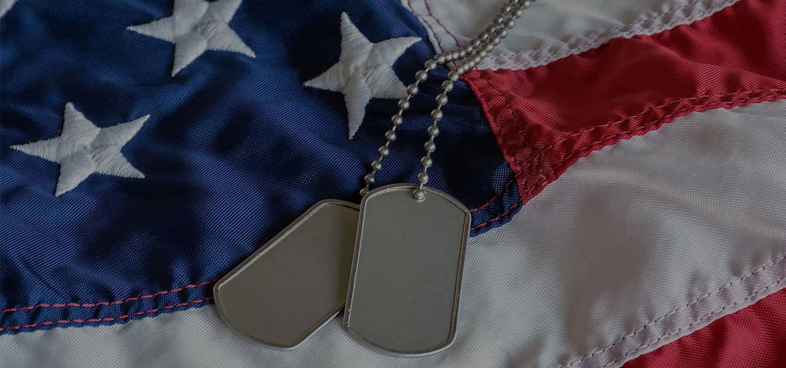 Va Benefits For Spouses military dog tags on American flag with embroidered stars